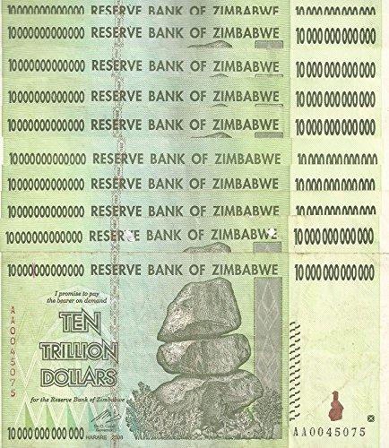 10 x Zimbabwe 10 Trillion Dollars Banknotes, CIRCULATED AA\/2008 \/ $100 Trillion Series \u2013 History