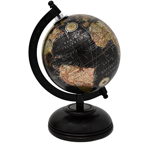 2 Decorative Glossy World Globes With Wooden Stand For