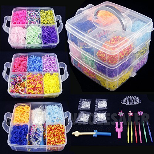 4800 Pcs Colorful Rainbow Rubber Loom Bands Bracelet
