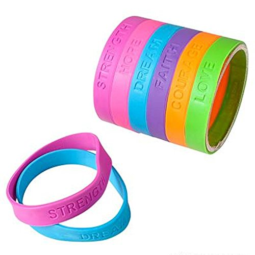 8-Rubber-Sayings-Bracelet-Assorted-Colors-60-Pieces-0