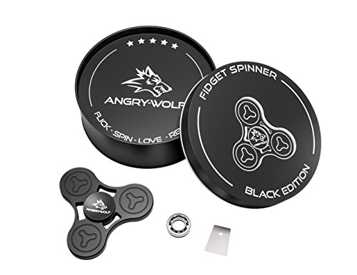 Angry-Wolf-Fidget-Spinner-Black-Edition-Extra-HQ-SR188-Hybrid-Ceramic-Bearing-Tool-Premium-100-Stainless-Steel-Smooth-5-Min-Spin-Time-Anti-Stress-Gadget-for-Anxiety-Focus-Gift-2017-0-0
