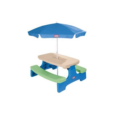 Back to school little tikes easy store picnic table with - Children s picnic table with umbrella ...