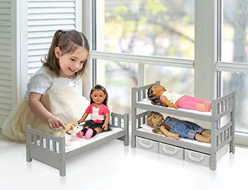 Badger Basket 1 2 3 Convertible Doll Bunk Bed With 3 Storage Baskets