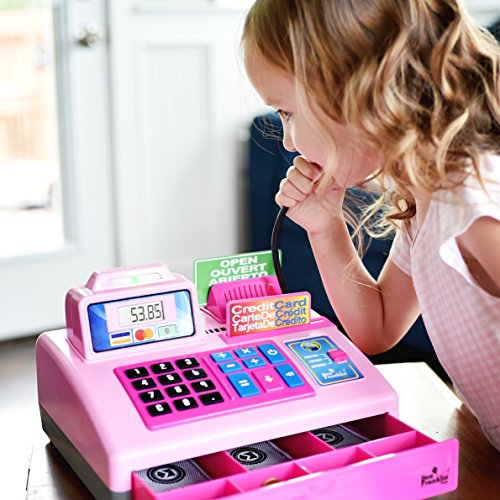 Ben-Franklin-Toys-Talking-Toy-Cash-Register-store-learning-play-set-with-3-languages-paging-microphone-credit-card-bank-card-and-play-money-0-2