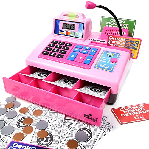 Ben-Franklin-Toys-Talking-Toy-Cash-Register-store-learning-play-set-with-3-languages-paging-microphone-credit-card-bank-card-and-play-money-0