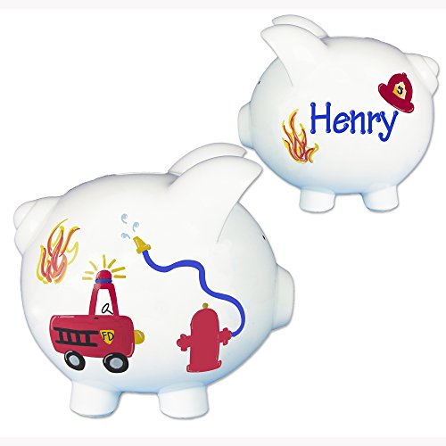 Boys-Fire-Truck-Piggy-Bank-Hand-Painted-Personalized-Large-White-Ceramic-Fireman-Piggybank-0