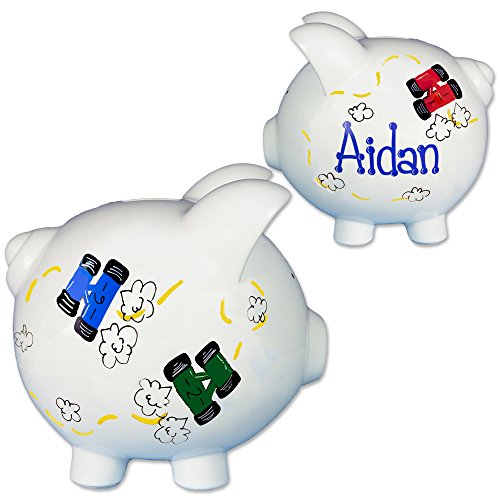 Boys-Hand-Painted-Personalized-Race-Car-Piggy-Bank-for-nascar-baby-gift-with-racecars-0
