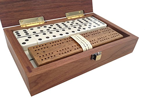 Cabin-Club-Classic-Domino-Set-with-Black-Walnut-Case-Premium-Quality-28-Indestructible-Double-Six-Dominoes-0-0