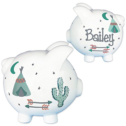 Childrens-Hand-Painted-Personalized-TeePee-Piggy-Bank-Southwest-Baby-Gift-w-arrows-0