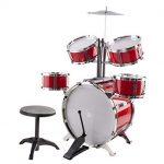 Classic-Rhythm-Toy-Jazz-Drum-Big-XXXL-Size-Children-Kids-Musical-Instrument-Toy-Drum-Playset-w-5-Drums-Cymbal-Chair-Kick-Pedal-Drumsticks-Red-0