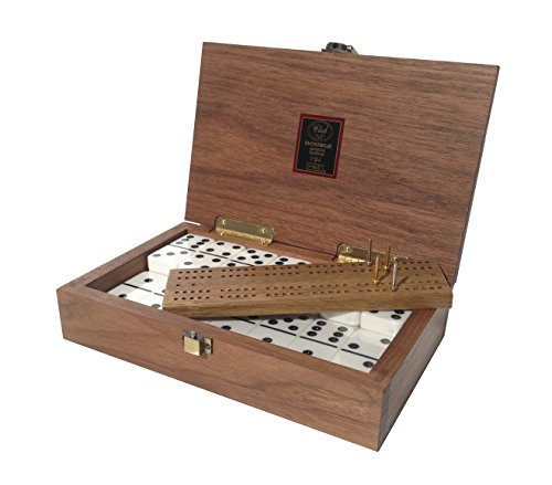 Club-52-Luxury-Domino-Set-with-Black-Walnut-Case-Professional-Tournament-Domino-Set-28-Indestructible-Double-Six-Dominoes-0