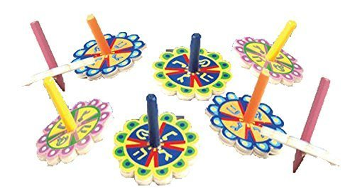 Colorful-Flower-Shaped-Wooden-Hanukkah-Dreidel-Pack-of-25-0