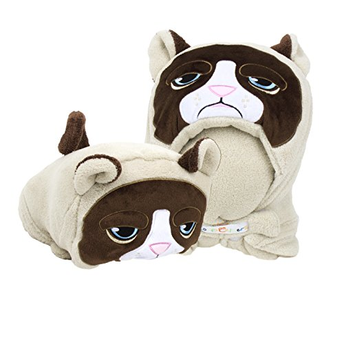 Comfy Critters Stuffed Animal Blanket ? Grumpy Cat ? Kids huggable pillow and blanket perfect ...