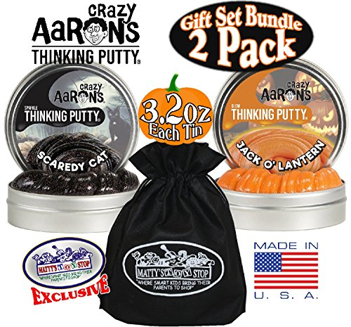 Crazy-Aarons-Thinking-Putty-Halloween-Scaredy-Cat-Jack-O-Lantern-Glow-in-the-Dark-with-Blacklight-Charger-Gift-Set-Bundle-with-Exclusive-Mattys-Toy-Stop-Storage-Bag-2-Pack-0