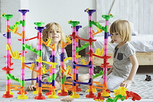 DOUBLE-HUGE-Marble-Run-Construction-Toy-Set-for-Kids–Large-set-of-210-Pieces–Enjoy-the-double-fun-of-building-two-sets-and-trying-to-connect-them-Includes-a-set-of-150-pieces-60-Marbles-0-0
