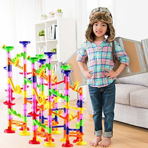 DOUBLE-HUGE-Marble-Run-Construction-Toy-Set-for-Kids–Large-set-of-210-Pieces–Enjoy-the-double-fun-of-building-two-sets-and-trying-to-connect-them-Includes-a-set-of-150-pieces-60-Marbles-0-1