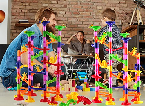 DOUBLE-HUGE-Marble-Run-Construction-Toy-Set-for-Kids–Large-set-of-210-Pieces–Enjoy-the-double-fun-of-building-two-sets-and-trying-to-connect-them-Includes-a-set-of-150-pieces-60-Marbles-0-2