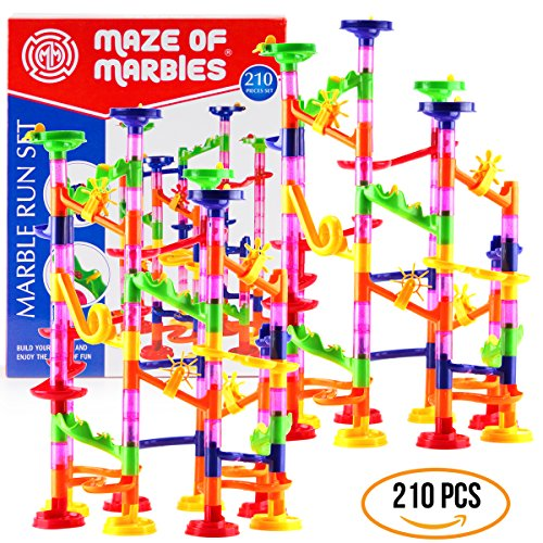 DOUBLE-HUGE-Marble-Run-Construction-Toy-Set-for-Kids–Large-set-of-210-Pieces–Enjoy-the-double-fun-of-building-two-sets-and-trying-to-connect-them-Includes-a-set-of-150-pieces-60-Marbles-0