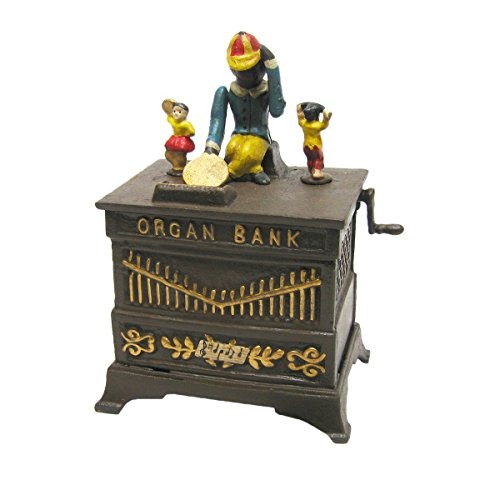 Design-Toscano-Monkey-Organ-Grinder-Collectors-Die-Cast-Iron-Mechanical-Coin-Bank-0-0