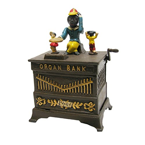 Design-Toscano-Monkey-Organ-Grinder-Collectors-Die-Cast-Iron-Mechanical-Coin-Bank-0