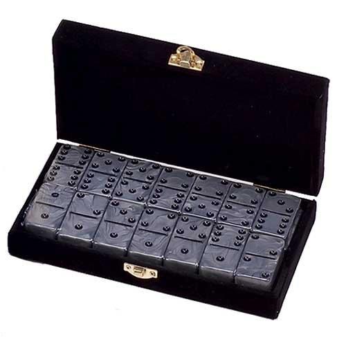 Domino-Double-6-Silver-Marbleized-Tiles-Jumbo-Tournament-Size-0
