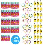 Emoji-Party-Supplies-Novelty-Party-Favor-Jumbo-Bundle-Includes-Rubber-Emotion-Bracelets-7-inch-Friendship-Bracelets-and-4-inch-Buddy-Clips-84-Items-0