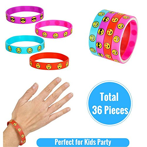 Emoji-Party-Supplies-Novelty-Party-Favor-Jumbo-Bundle-Includes-Rubber-Emotion-Bracelets-7-inch-Friendship-Bracelets-and-4-inch-Buddy-Clips-84-Items-0-2