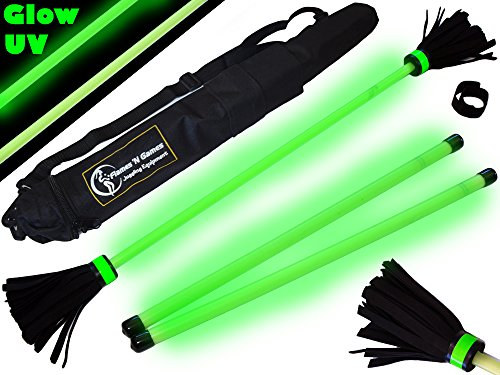 Flames-N-Games-MOONSHINE-Glow-In-The-Dark-Flowerstick-Set-WOODEN-Handsticks-Travel-Bag-Ideal-Flower-stick-Set-for-Beginners-Pros-0