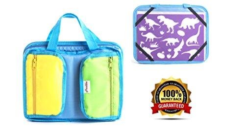Frecklez-Stencil-Set-Stencil-Kit-For-Kids-Fabric-Travel-Bag-With-Sketch-Pad-300-Shapes-15-Stencils-15-Colored-Pencils-Sharpener-Scissors-0-0