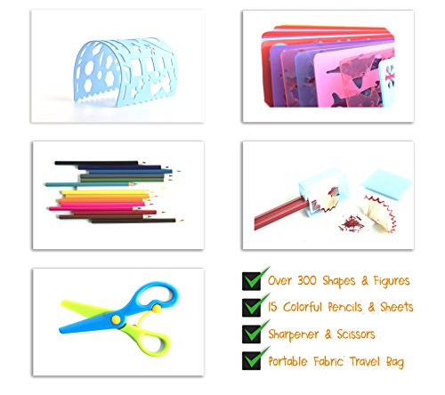 Frecklez-Stencil-Set-Stencil-Kit-For-Kids-Fabric-Travel-Bag-With-Sketch-Pad-300-Shapes-15-Stencils-15-Colored-Pencils-Sharpener-Scissors-0-1