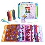 Frecklez-Stencil-Set-Stencil-Kit-For-Kids-Fabric-Travel-Bag-With-Sketch-Pad-300-Shapes-15-Stencils-15-Colored-Pencils-Sharpener-Scissors-0