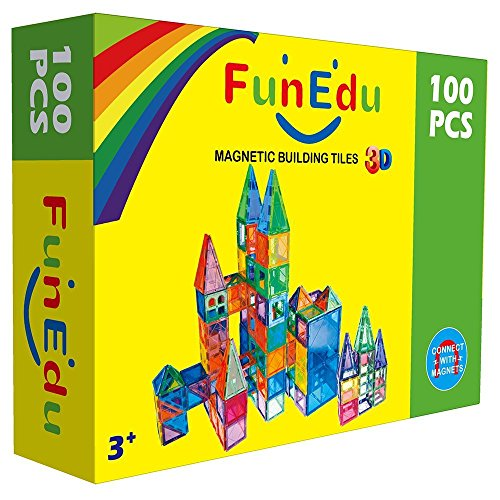 FunEdu-Magnetic-Tile-100-piece-pcs-set-Super-Strong-Magnet-2-Wheel-Bases-4-Windows-Building-Blocks-Toy-for-Kids-toddlers-creativity-imagination-0