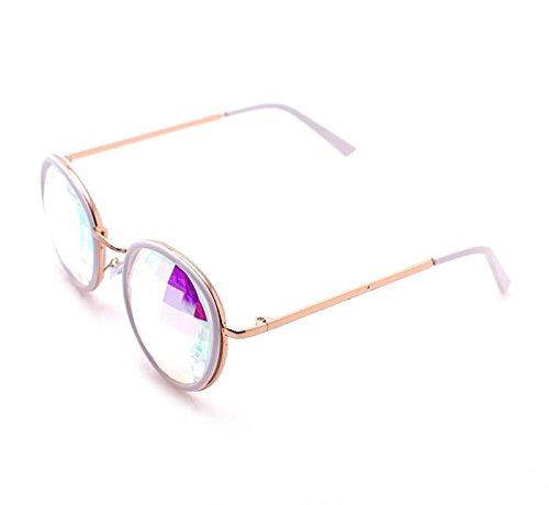 GloFX-White-Ivory-Vintage-Metal-Kaleidoscope-Glasses–Rainbow-Bug-Eye–Flat-Back-0-2