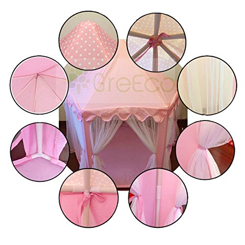 GreEco-Princess-Castle-PLay-Tent-Fairy-Princess-Castle-Tent-Extra-Large-Room-Pink-0-2