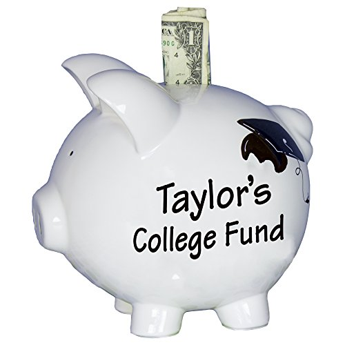 Hand Painted Personalized College Fund Piggy Bank Savings