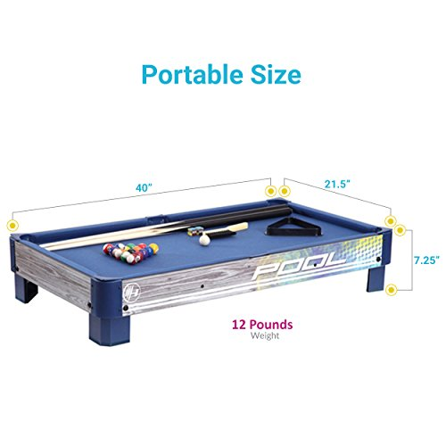 Harvil-Tabletop-Pool-Table-with-L-style-Legs-Includes-2-Pieces-36-Inch-Pool-Cues-1-Set-of-Billiard-Balls-Chalk-and-Triangle-0-0