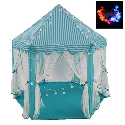 Intency-PrincessPrince-Castle-Kids-Play-Tent-Large-Portable-Children-Playhouse-with-Led-Star-Lights-for-Boys-Girls-Toddlers-0-0