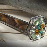 J-Devlin-Kal-112-Kaleidoscope-Double-Wheel-in-Brown-Opalescent-with-Glass-Stones-0-0