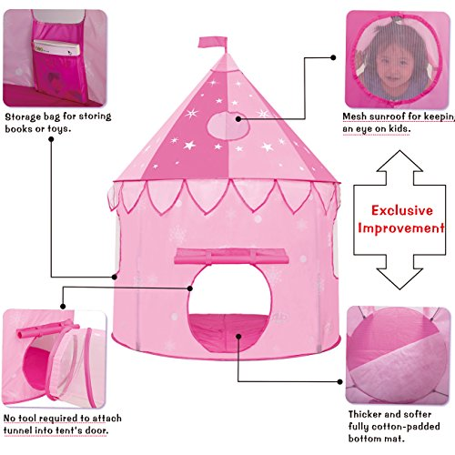JOYBEE-Children-Play-Tent-with-Play-Tunnel-TubeGirls-Princess-Castle-for-IndoorOutdoor-UsePink-Upgrade-190T-Polyester-47D-x-55H-0-1