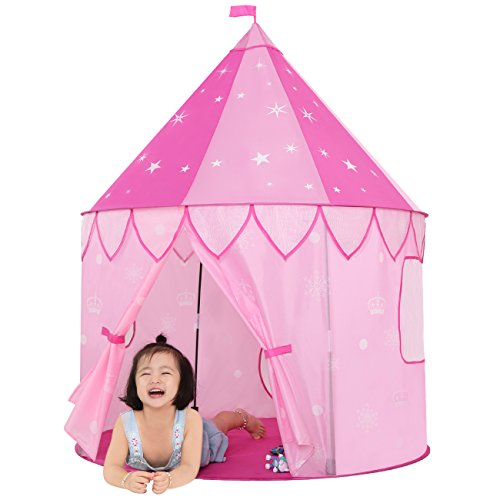 JOYBEE-Children-Play-Tent-with-Play-Tunnel-TubeGirls-Princess-Castle-for-IndoorOutdoor-UsePink-Upgrade-190T-Polyester-47D-x-55H-0