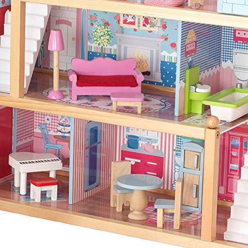 Kidkraft Chelsea Wooden Dollhouse Pretend Play Cottage With Furniture 65054 Hobby Leisure Mall