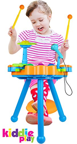 Kiddie Play Electric Toy Drum Set For Kids With Stool Microphone