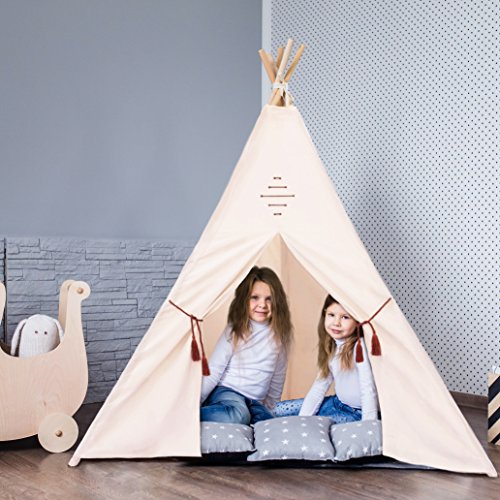 Kids-Teepee-Tent-by-Natures-Blossom-Large-100-Cotton-Canvas-6-Feet-Tipi-with-Five-Poles-Window-Carry-Bag-Foldable-Playhouse-For-Indoor-or-Outdoor-Play-Popular-Gift-for-Thanksgiving-Christmas-0-2