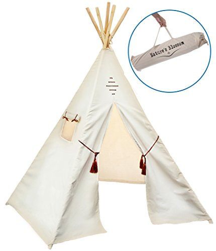 Kids-Teepee-Tent-by-Natures-Blossom-Large-100-Cotton-Canvas-6-Feet-Tipi-with-Five-Poles-Window-Carry-Bag-Foldable-Playhouse-For-Indoor-or-Outdoor-Play-Popular-Gift-for-Thanksgiving-Christmas-0