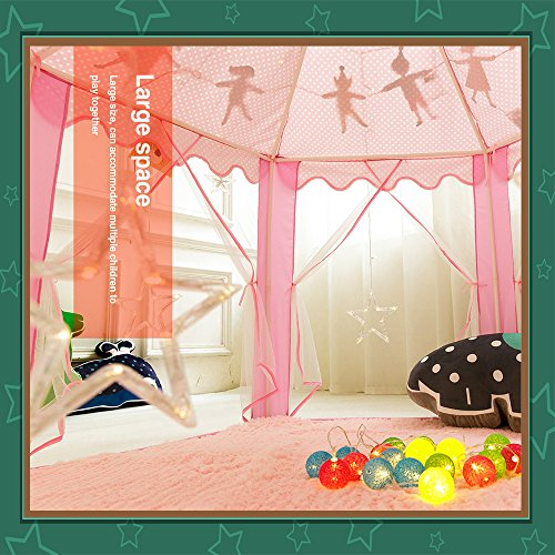 Kids-Tent-Play-Tent-Teepee-Princess-Toys-Children-Girls-Castle-Games-House-with-Star-String-Lights-and-Party-Flags-for-Indoor-Outdoor-Fun-55-x-55-0-1