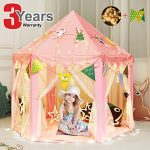Kids-Tent-Play-Tent-Teepee-Princess-Toys-Children-Girls-Castle-Games-House-with-Star-String-Lights-and-Party-Flags-for-Indoor-Outdoor-Fun-55-x-55-0