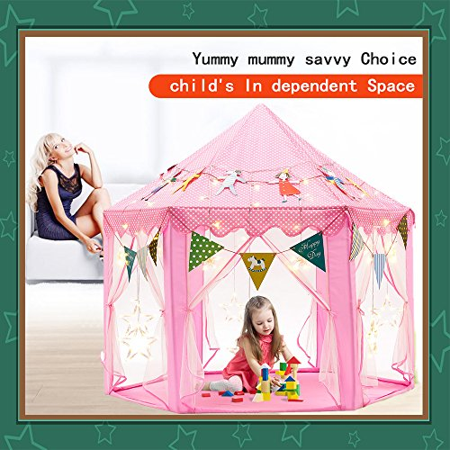 Kids-Tent-Play-Tent-Teepee-Princess-Toys-Children-Girls-Castle-Games-House-with-Star-String-Lights-and-Party-Flags-for-Indoor-Outdoor-Fun-55-x-55-0-2