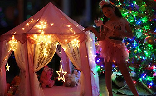 Kids-Tent-for-Kids-Playhouse-with-Lights-12-Star-LED-Strip-lights-3pc-Princess-Dress-Up-Costume-Letter-from-Santa-Children-Castle-Play-Tent-for-Girls-Kids-Gifts-Tent-with-Lights-Pink-Hexagon-Large-0-0