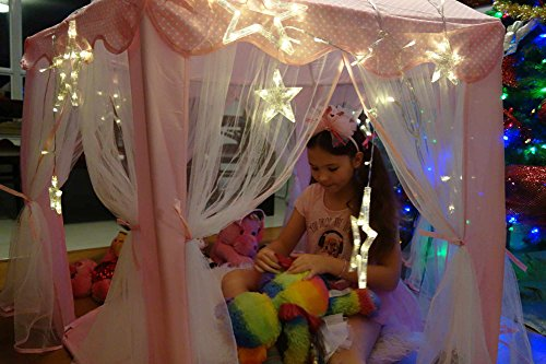 Kids-Tent-for-Kids-Playhouse-with-Lights-12-Star-LED-Strip-lights-3pc-Princess-Dress-Up-Costume-Letter-from-Santa-Children-Castle-Play-Tent-for-Girls-Kids-Gifts-Tent-with-Lights-Pink-Hexagon-Large-0-1