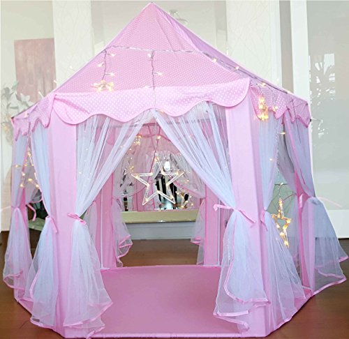Kids-Tent-for-Kids-Playhouse-with-Lights-12-Star-LED-Strip-lights-3pc-Princess-Dress-Up-Costume-Letter-from-Santa-Children-Castle-Play-Tent-for-Girls-Kids-Gifts-Tent-with-Lights-Pink-Hexagon-Large-0-2